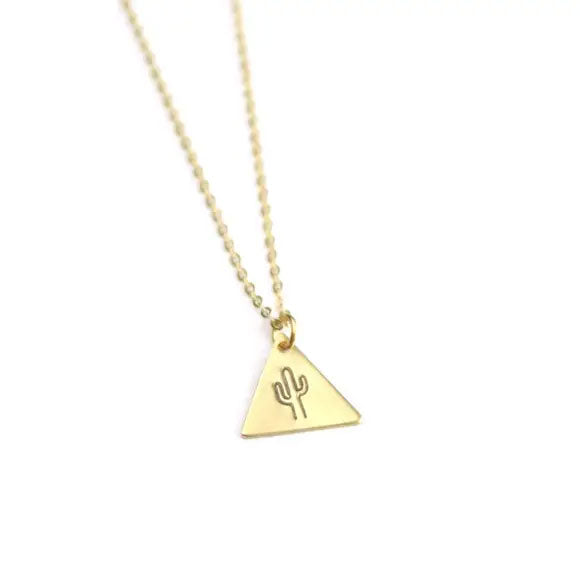Tiny Brass Saguaro Necklace