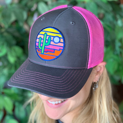 Sonoran Sunset Trucker - Charcoal/Pink