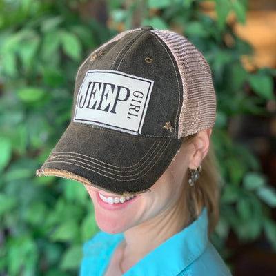 Jeep Girl Vintage Distressed Trucker Hat