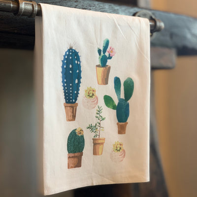Watercolor Cacti Tea Towel