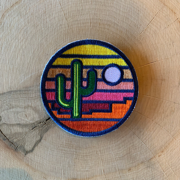 Stained Glass Saguaro Iron-On Patch
