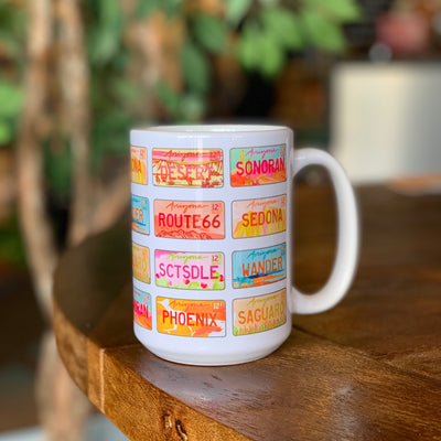 Arizona License Plates Watercolor Mug