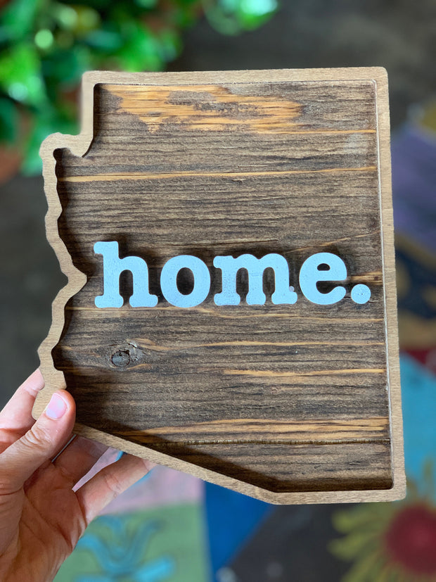 Arizona Home Wood Plaque