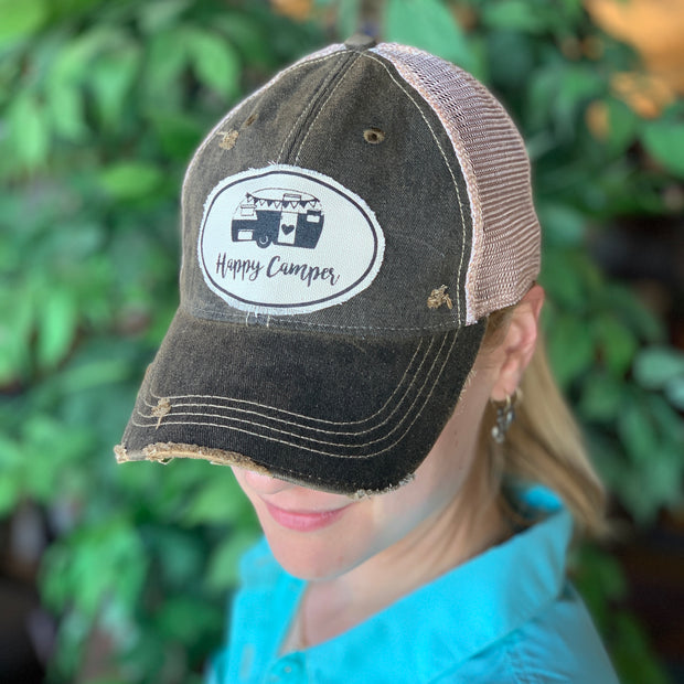 Happy Camper Vintage Distressed Trucker Hat - Grey