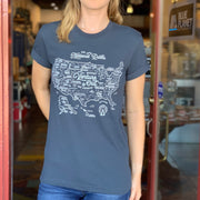 National Parks Map Unisex Tee - Charcoal