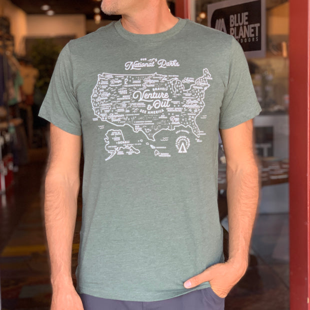 National Parks Map Unisex Tee - Forest