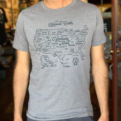 National Parks Map Unisex Tee - Heather Grey