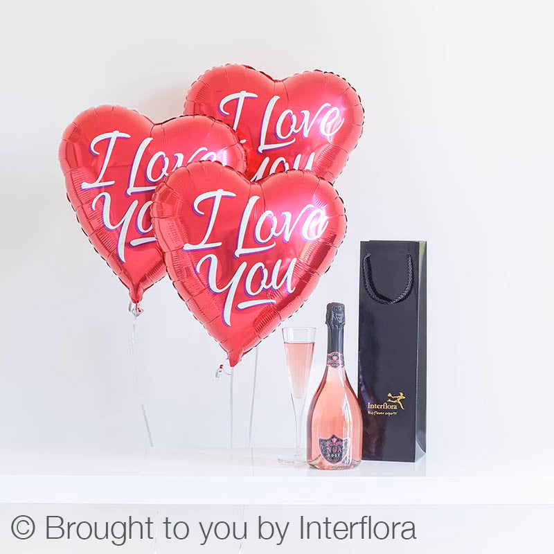 Sparkling Rosé and Love Balloons