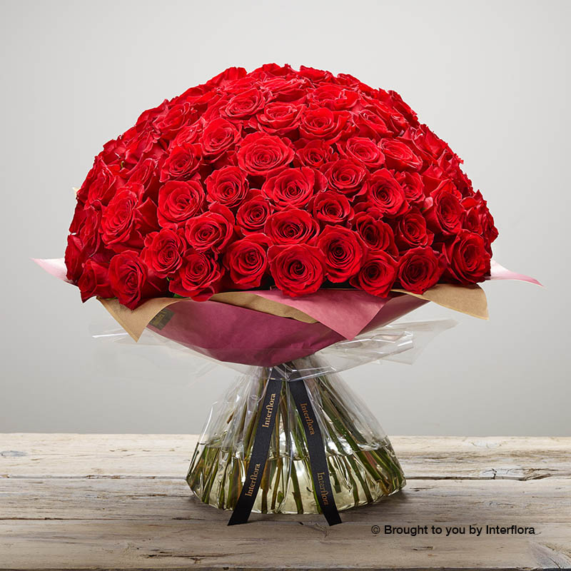 Valentine's 100 red rose hand-tied made with premium roses