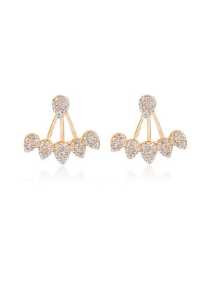Crystelle - Goldfarbene Ear Jackets (Ohrringe) mit Strass-Steinen