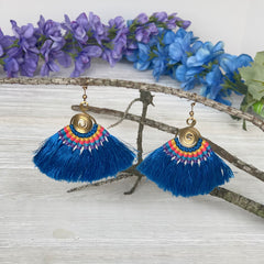Colorful4U Blue Tassel Earrings | Trending Earrings for Spring and Summer