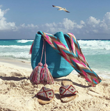 Beach Flat Sandals and Crossbody Bag matching set-Beach essentials