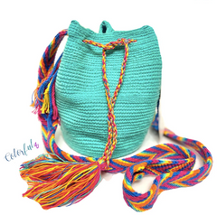 Colorful4U Mini Bag | Aqua/Turquoise Small Crochet Bag for Spring/Summer