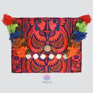 Colorful Embroidered Clutch - Tassel Clutch Bag - Bohemian Style CEPC01