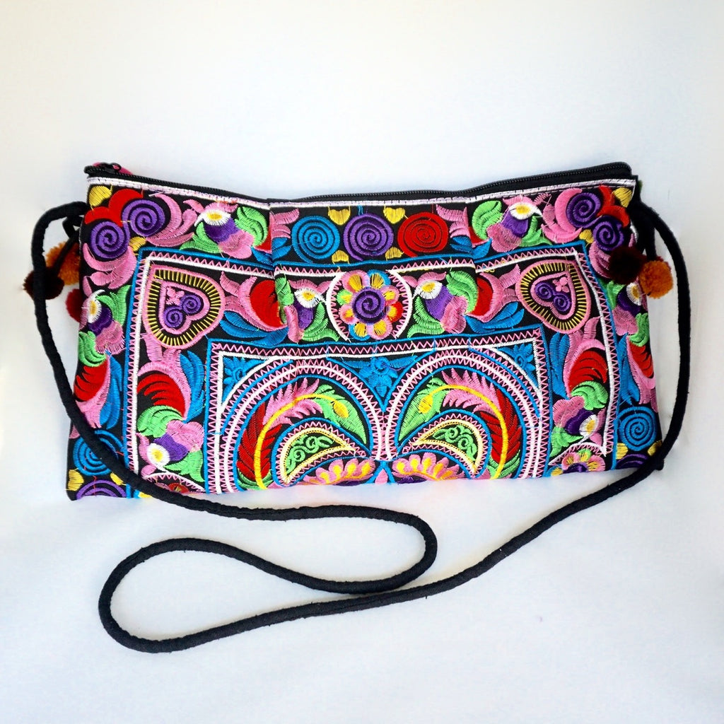 Colorful Embroidered Pom-Pom Handbag - Boho Chic Shoulder/Crossbody Bag