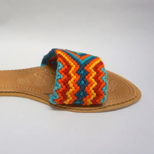 Desert Sunset Flat Sandals - Wayuu Slide Sandals-SWF004