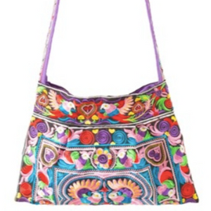 MEDIUM Colorful Embroidered  Handbag - Boho Chic Crossbody Style