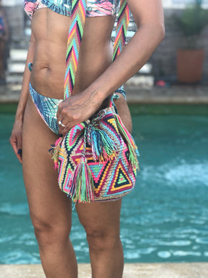 Medium-Size Colorful Crochet Bags - Crossbody Boho Bags- Beach Style MWMM
