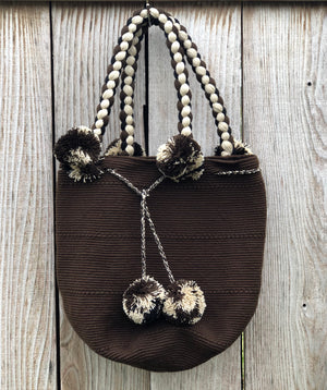 DARK BROWN Braided Handle Boho Bag -Crochet Pompom Handbag - Bohemian Bag -Wayuu