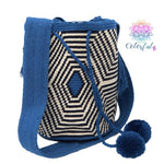 Special Edition Crochet Bag - Blue Crossbody Boho Bag -  Style MWDE34