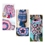 Pink Crossbody Bag - Hand-Crocheted-Bohemian Bags-Wayuu Mochila-Bucket