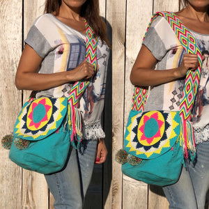 Turquoise Colorful 4U Crochet Bag w/ Cover | Crossbody Bohemian Bag | Casual Bag