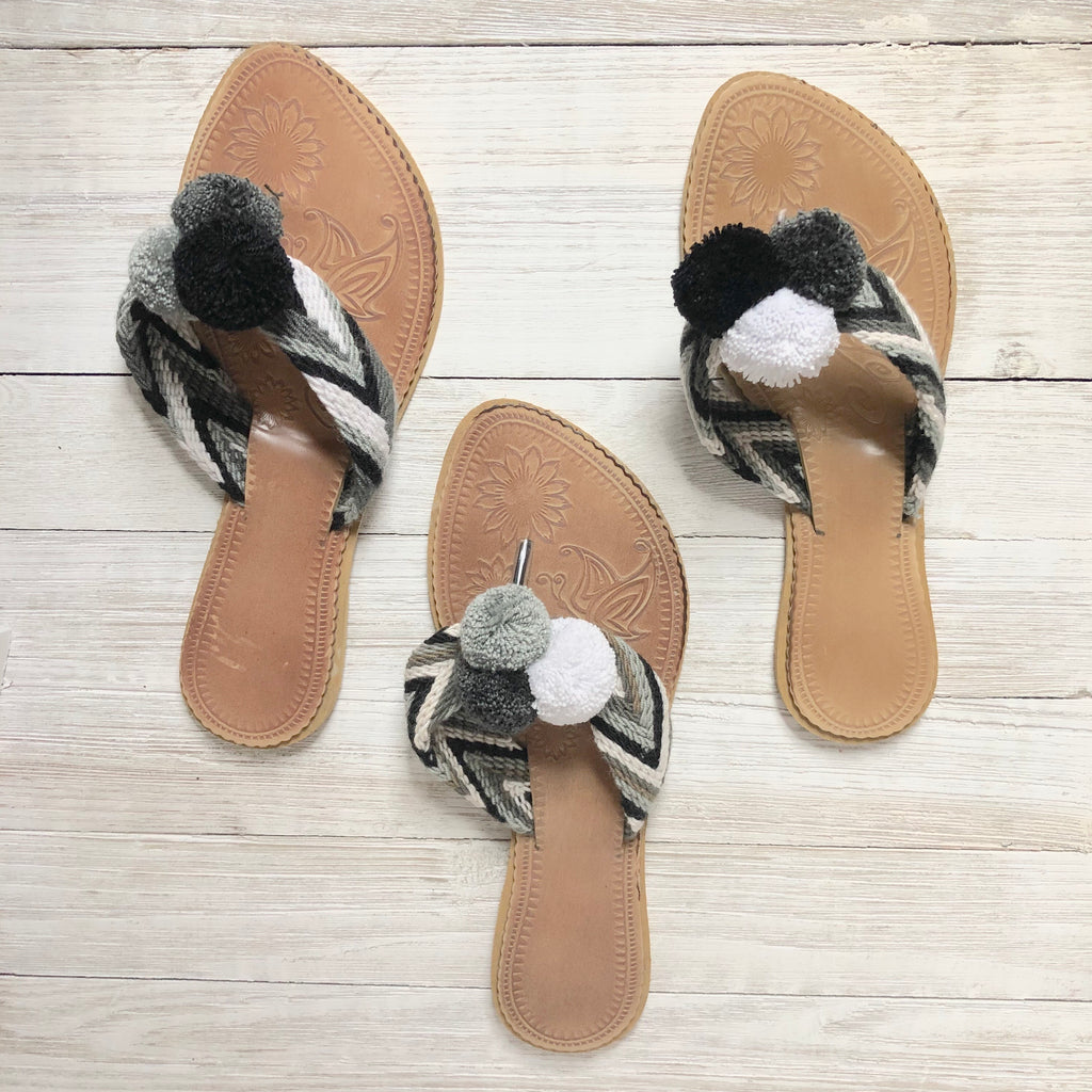 Black & White Pom Pom Sandals-Summer Flip Flops-Beach Slides-Flat Sandals
