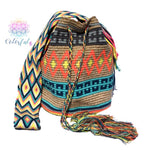 Colorful Crochet Bag - Crossbody Boho Bag -  Shades of Brown Style MWM0037
