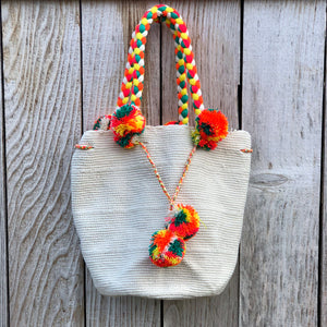 NATURAL Braided Handle Boho Bag -Crochet Pompom Handbag - Bohemian Bag -Wayuu