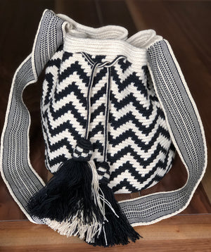 Special Edition Crochet Bag -  Black Chevron Crossbody Bag -  Boho Style MWDE49