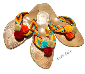 Summer Colors flat Sandals | Beach Sandals | Cute Sandals | Pompom Slides