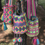Hot Pink-Yellow-Purple Crochet Bag-Crossbody Bucket Bag-Wayuu Mochila