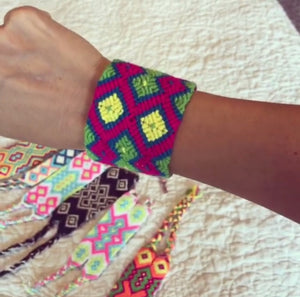Neon Colors Wide Friendship Bracelets | Colorful wrist bands | Macrame Bracelet | Wayuu