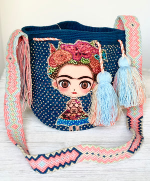 FRIDA Kahlo Bag - Blue Crossbody Bucket Bag-Boho Wayuu Bag-Medium Bag