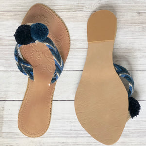 Colorful Pompom Sandals-Summer Flip Flops-Blue Flats-Cute Beach Slides
