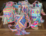 Medium-Size Colorful Crochet Bags - Crossbody Beach Bags- Boho Style MWMM
