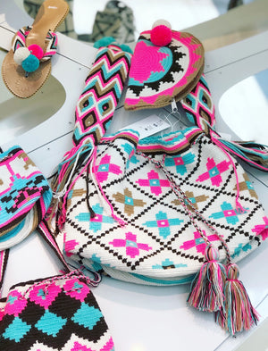 Crossbody Summer Bag | Beach Crochet Bag | Hot Pink-Turquoise Boho Bag - Matching set