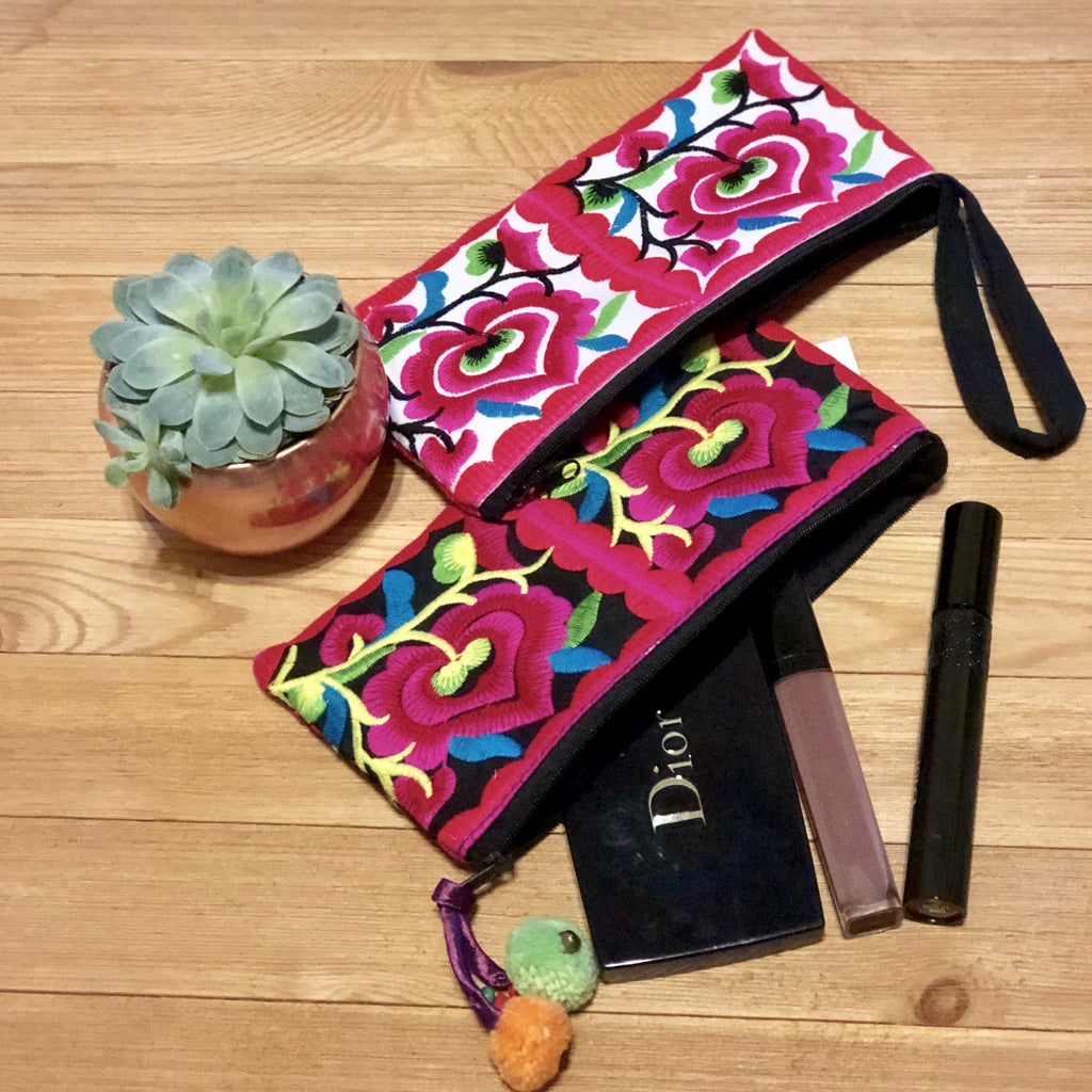 Embroidered Makeup bag - Wristlet bag- Bohemian style
