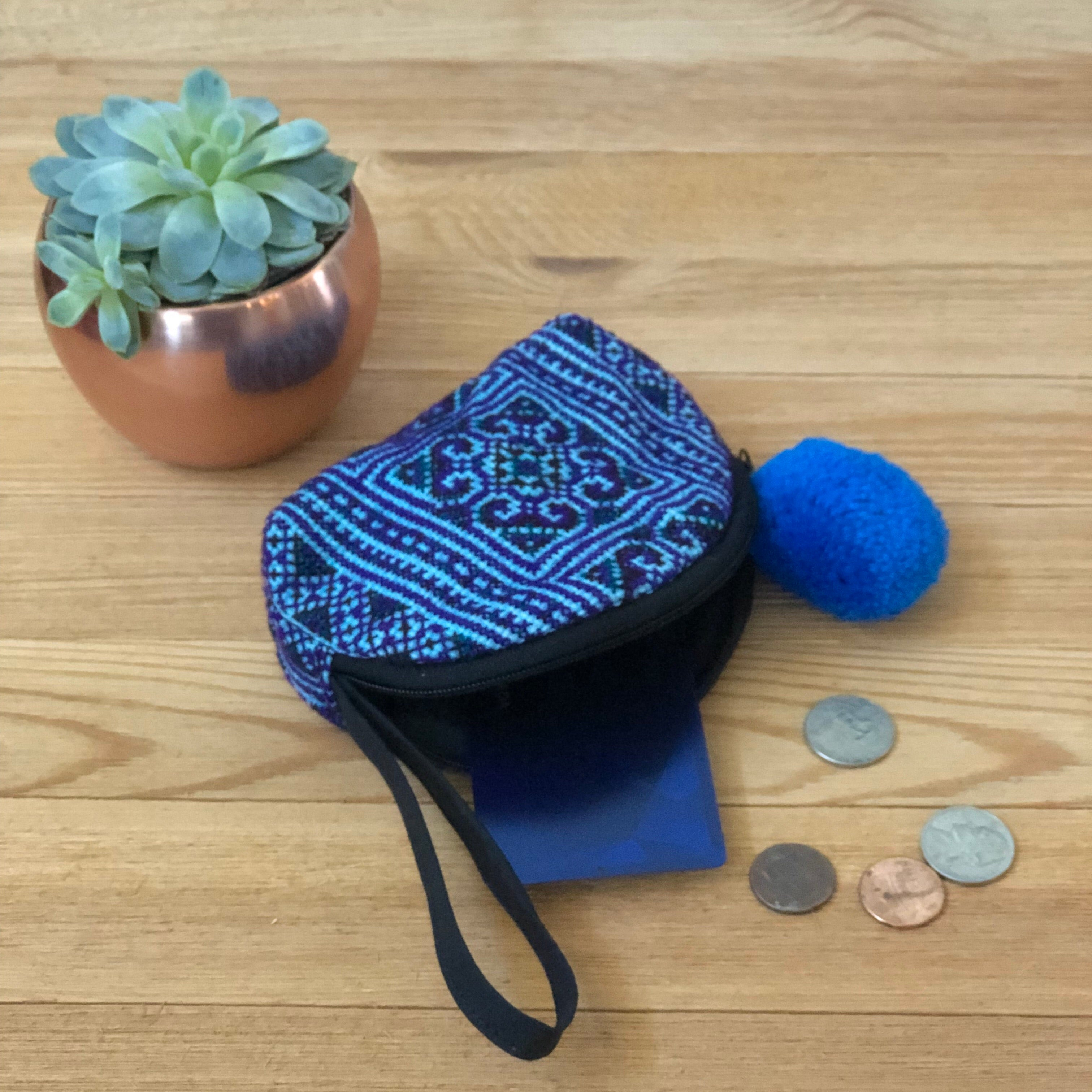 BLUE Embroidered Coin Purse-Bohemian Mini Purse-Boho Chic Wristlet