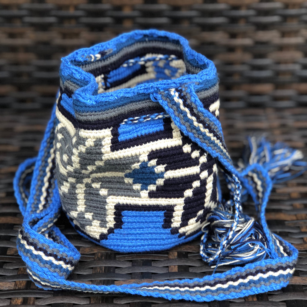 AZULA Mini Crochet Bag - Authentic Wayuu Mochilap Bag -  Style MWPD46
