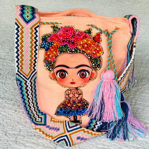 PEACH FRIDA Inspired Crochet Bag - Crossbody Bucket Bag-Boho -Wayuu