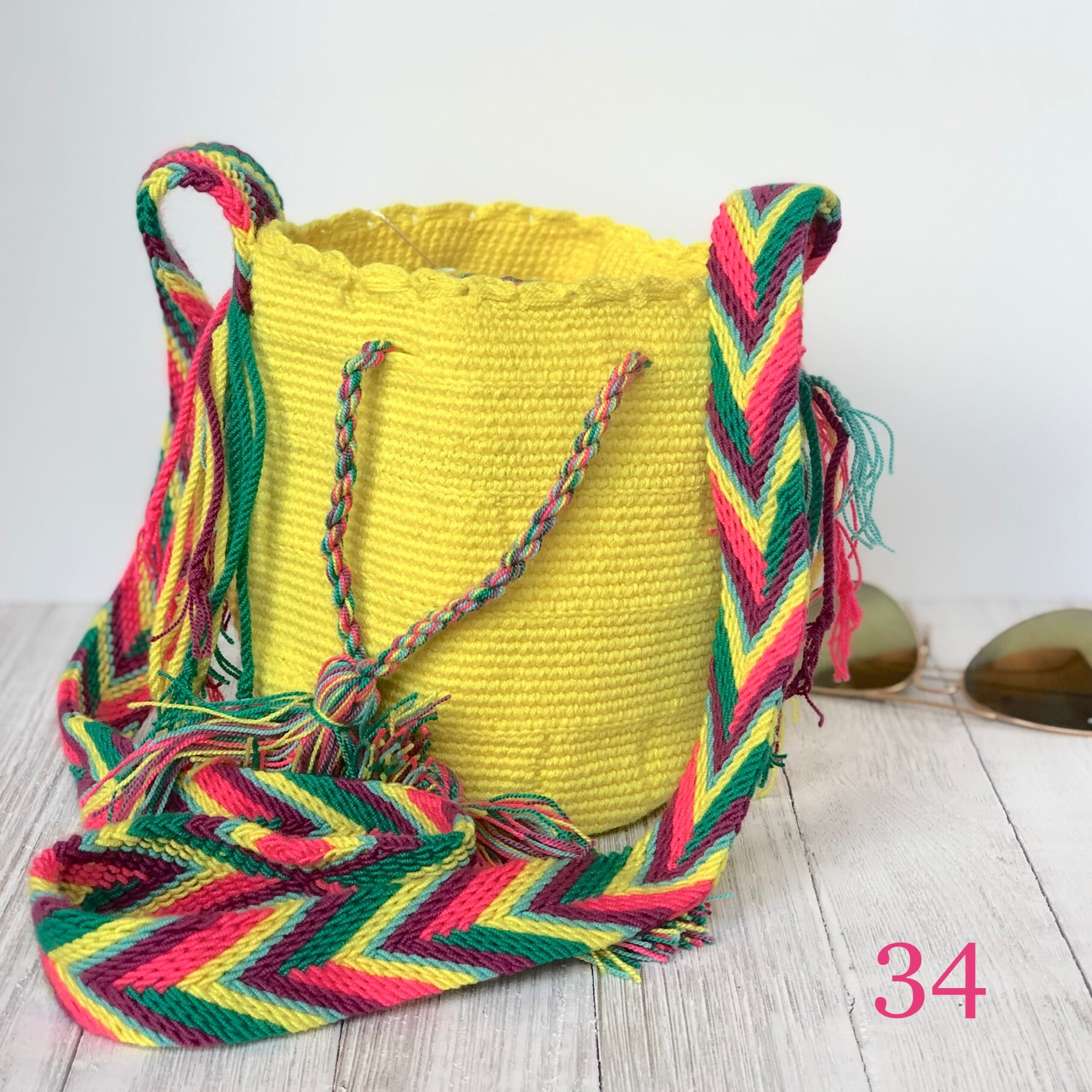 Yellow Mini Crochet Bags-Small Wayuu Bags-Girls Summer Crossbody Bags