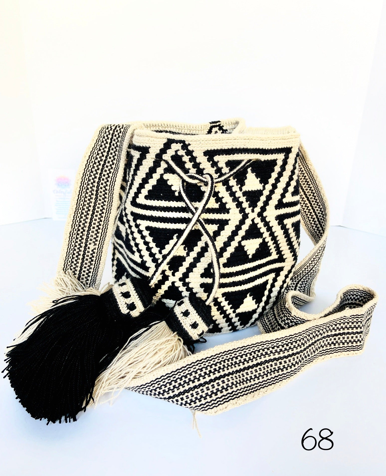 Medium White and Black Bag - Crochet Bag - Crossbody Fashion Bag-Wayuu Pattern