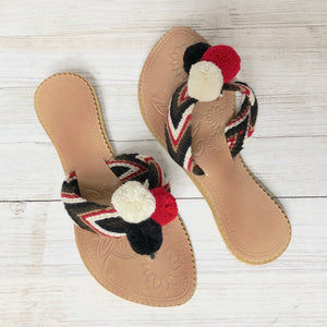 Red Sandals-Pom Pom Flip Flops-Summer Flats-Cute Beach Slides-Wayuu