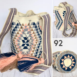 Cream Crossbody Crochet Bags-Bohemian Bags-Boho Bag-Bucket Bag-Hippie-Wayuu