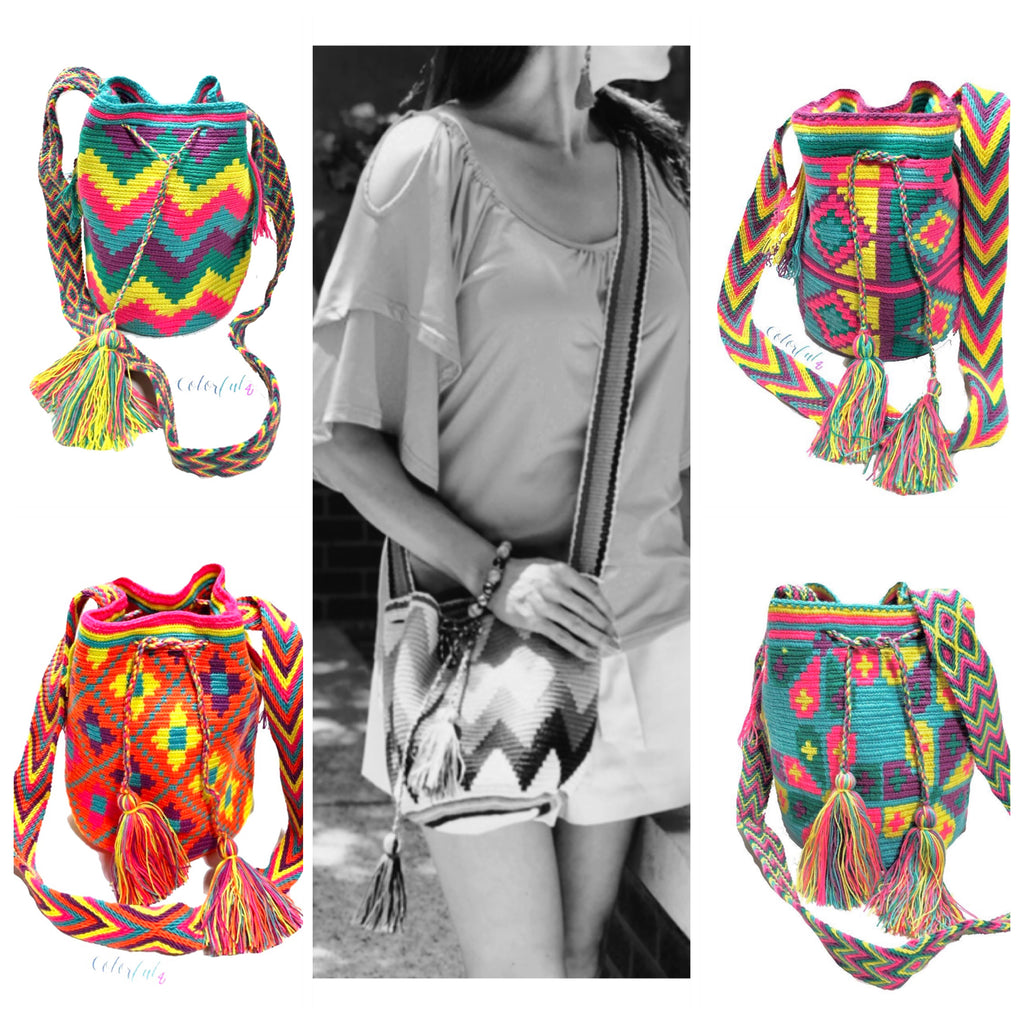 Medium Summer Crossbody Crochet Bag - Wayuu Mochila - Bucket Boho Bag