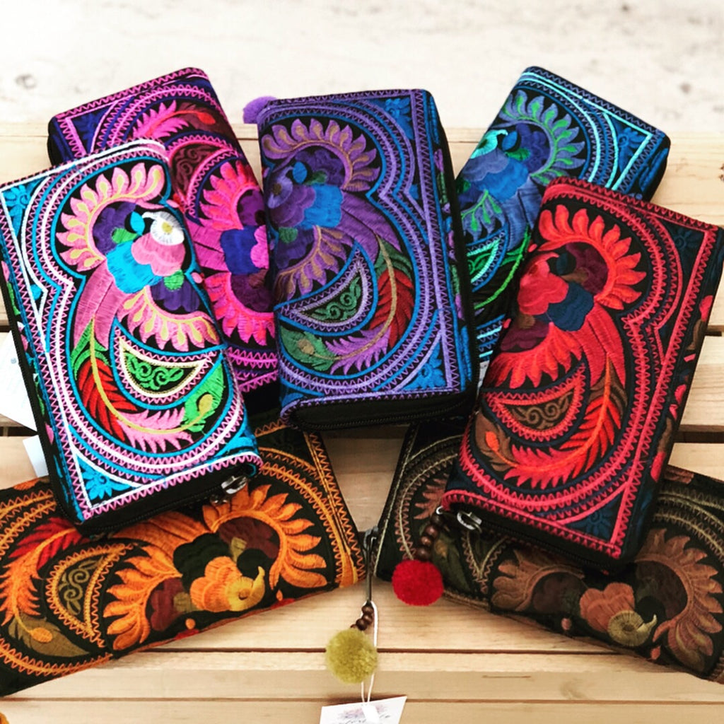 Colorful Embroidered Wallet - Boho Chic Wallet/Clutch Bag