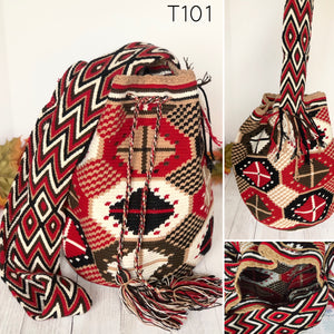 Red and Black Handbag for Fall/Winter | Crossbody Crochet Bag | Boho Bag | Wayuu Mochila