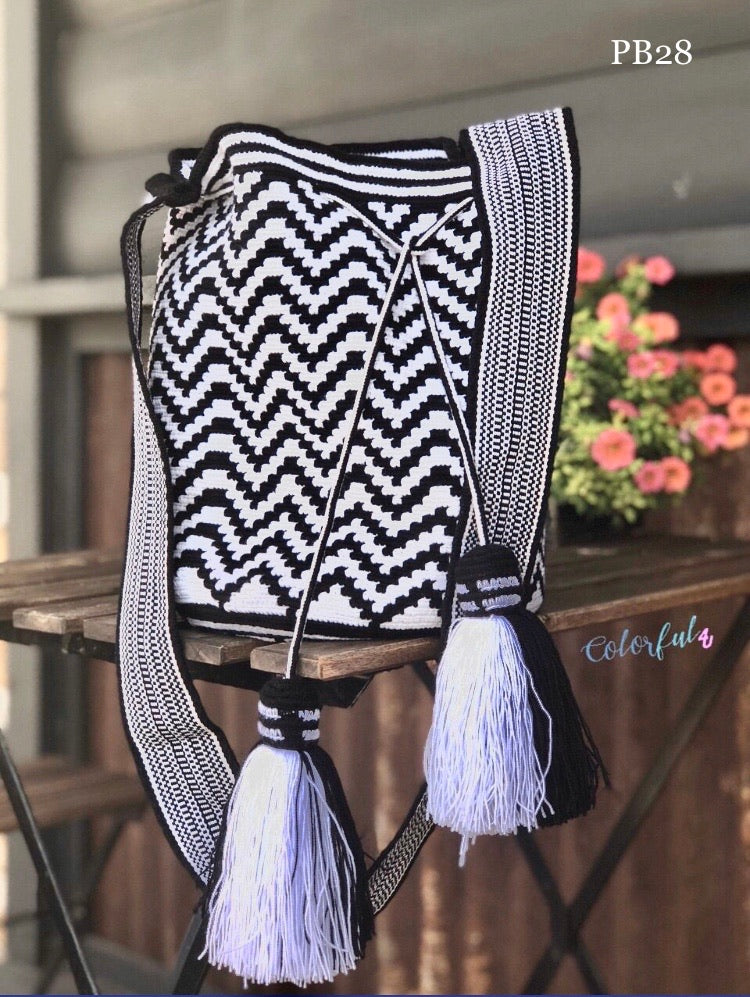 Black and White Premium Crochet Bag | Single Thread Hand-Crocheted Bag | Fashion Bag