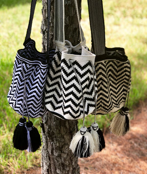 Black and White Crochet Bag | Stylish Bag | Chevron Pattern | Fashion